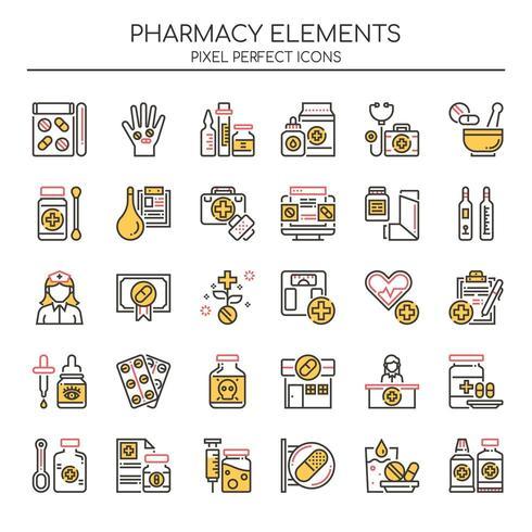 Conjunto de elementos de farmacia de línea fina de color
