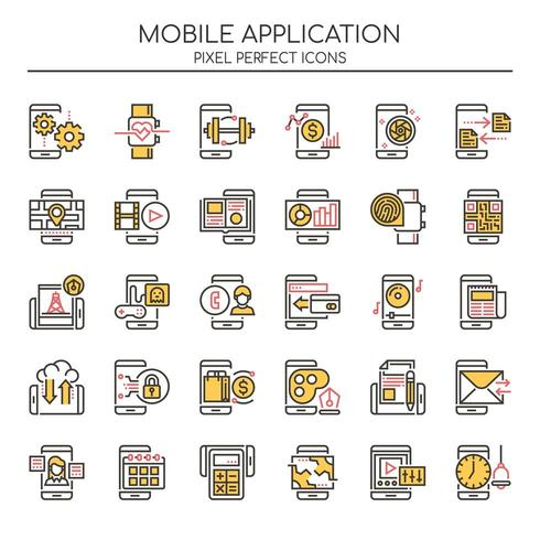 Set of Duotone Thin Line Mobile Application Icons