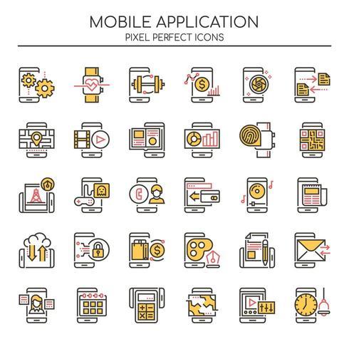 Reihe von Duotone Thin Line Mobile Application Icons