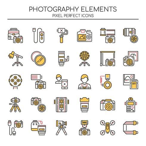 Reihe von Duotone Fotografie Icons