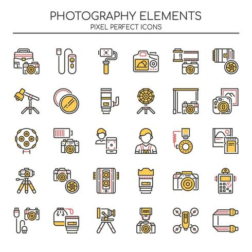 Uppsättning av Duotone Photography Icons vektor