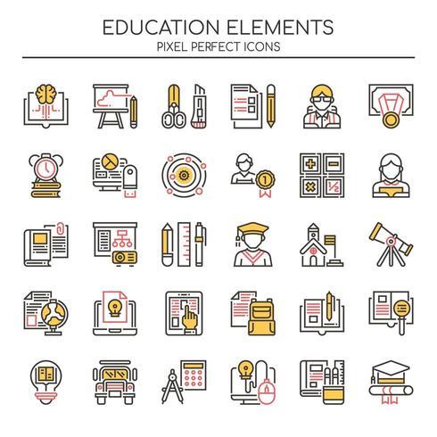 Conjunto de iconos de educación Duotone Thin Line