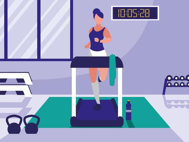 woman running in gym vector