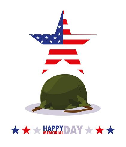 happy memorial day card with military of helmet vector