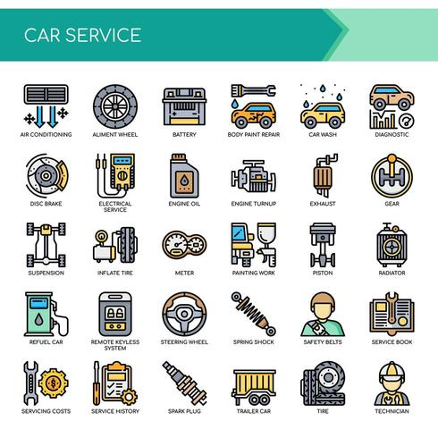 Conjunto de ícones de serviço de carro de linha fina de cor