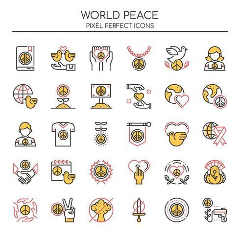 Set of Duotone Thin Line World Peace Icons