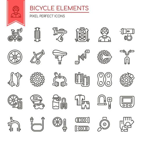 Set of Black and White Thin Line Bicycle Elements