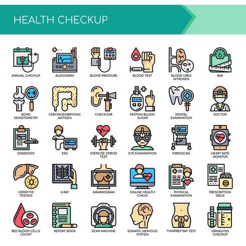 Conjunto de iconos de examen de chequeo de atención médica de color vector