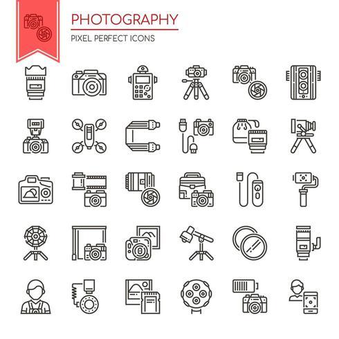 Ensemble d'icônes de photographie fine ligne noir et blanc