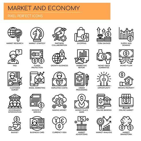 Reihe von schwarzen und weißen dünne Linie Markt und Wirtschaft Icons