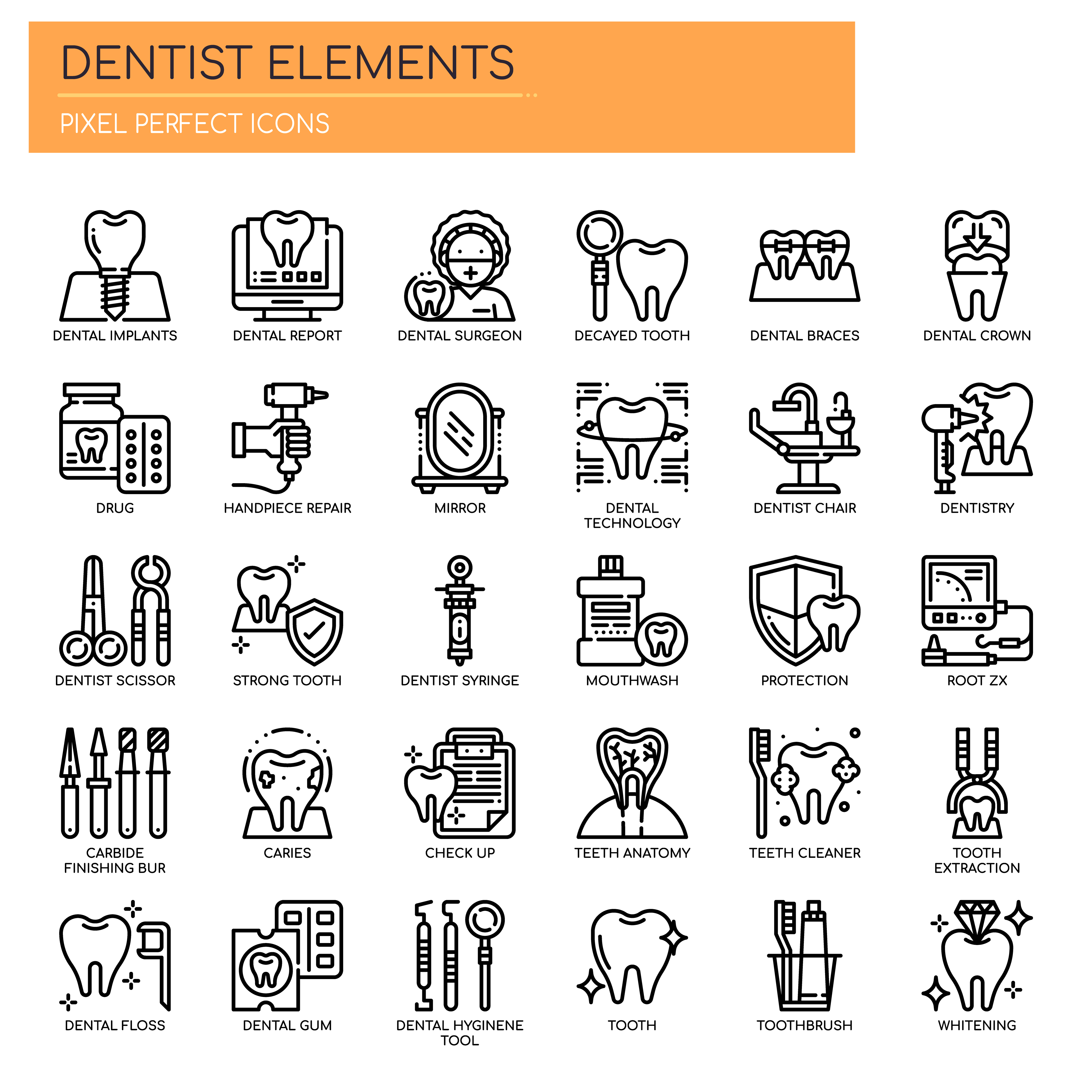 Set Of Black And White Thin Line Dental Icons 667500