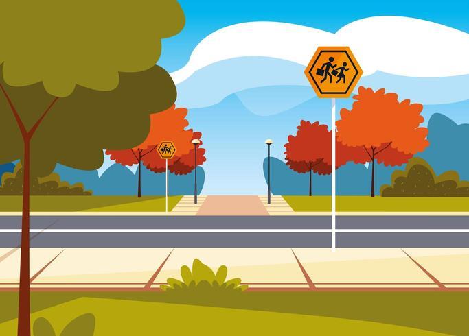 scena di strada con segnaletica pedonale