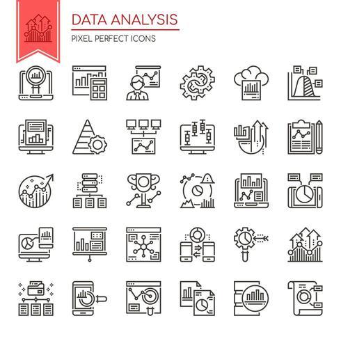 Set di icone di analisi dei dati di linea sottile in bianco e nero