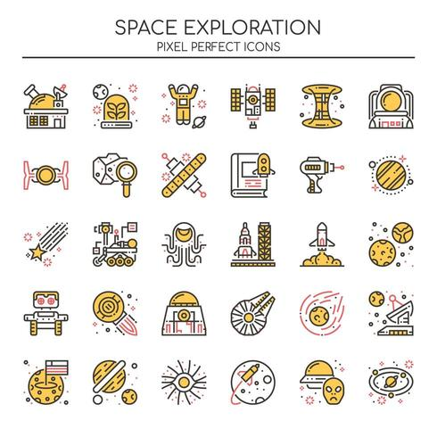 Ensemble d'icônes d'exploration d'espace couleur Duotone