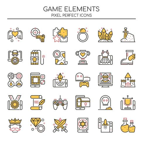 Conjunto de ícones de elementos de jogo Duotone linhas finas