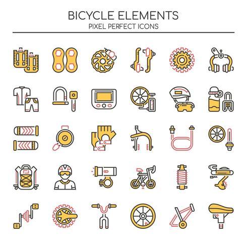 Reihe von Duotone dünne Linie Fahrrad Icons