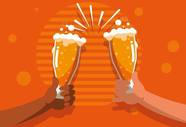 brinde de mãos com copos de cerveja