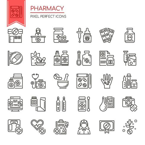 Set of Black and White Thin Line Pharmacy Icons