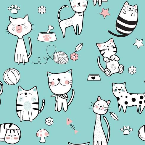 Gato bonito azul padrão sem emenda