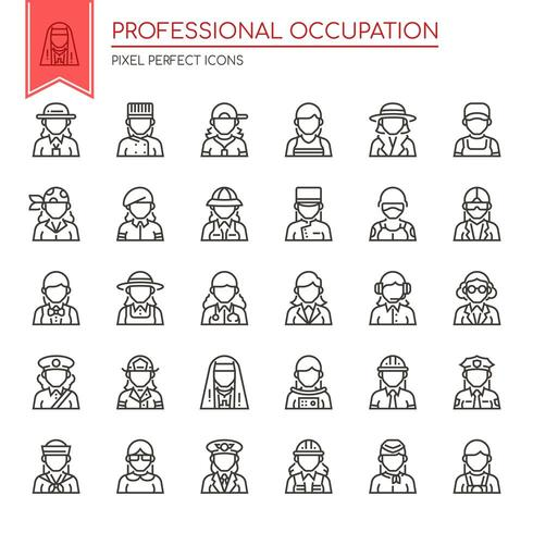 Set di icone di occupazione professionale di linea sottile in bianco e nero vettore