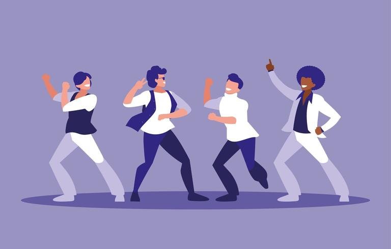 Grupp män som dansar vektor