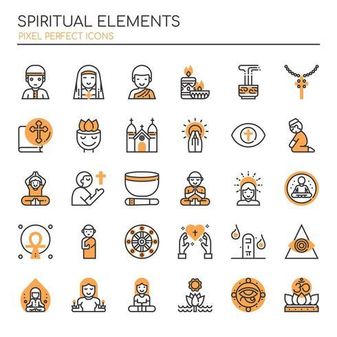 Set of Duotone Thin Line Spiritual Elements   vector