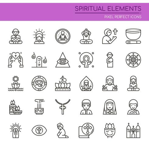 Set of Black and White Thin Line Spiritual Elements  vector
