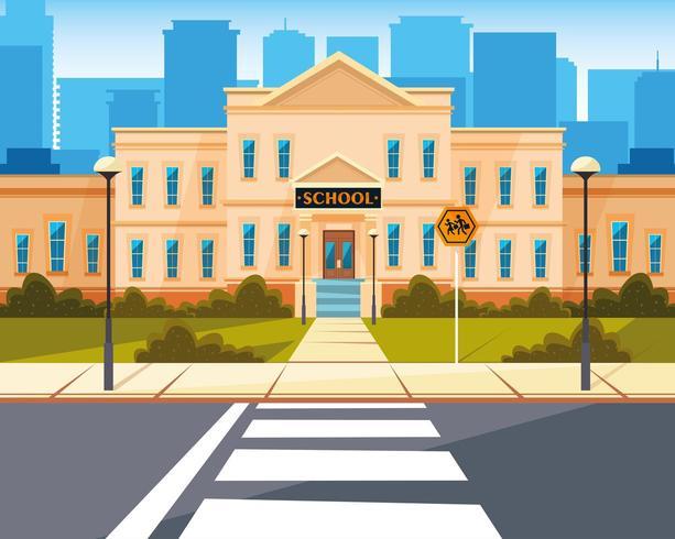 edificio escolar con carretera vector