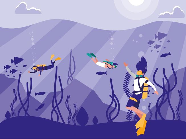 divers in tropical seascape scene  vector