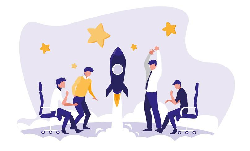 businessmen celebrating in the workplace vector
