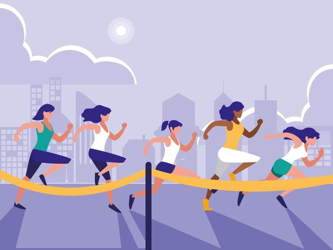 group of women running  vector
