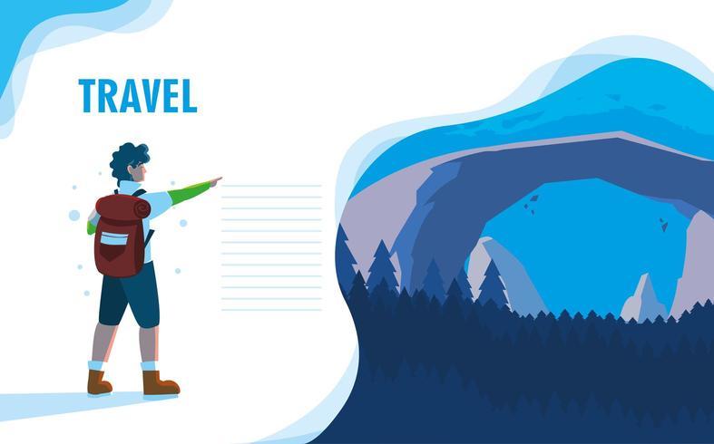 landscape nature with traveler landing page