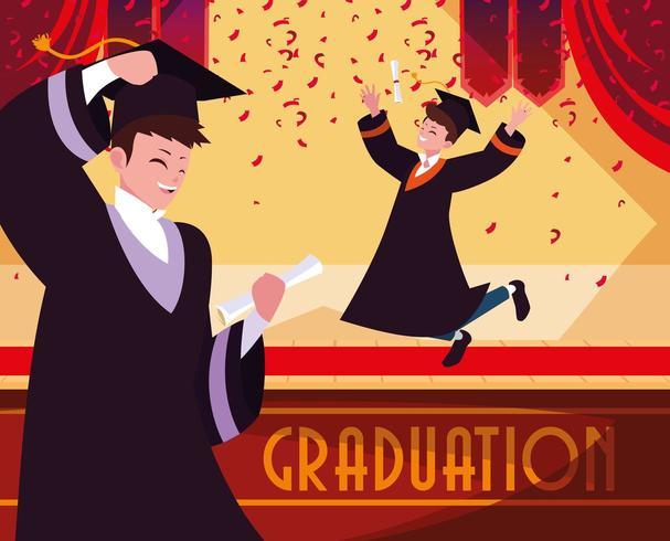 Graduating students celebrating  vector