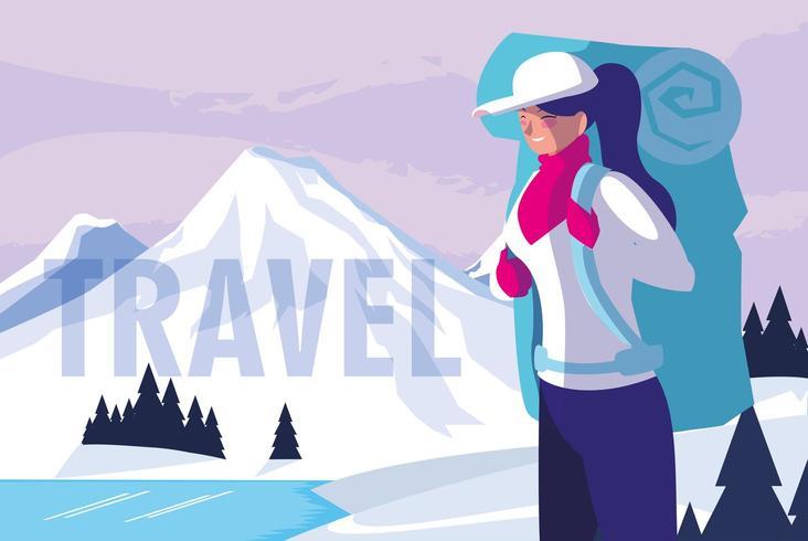 paisaje nevado con viajero vector