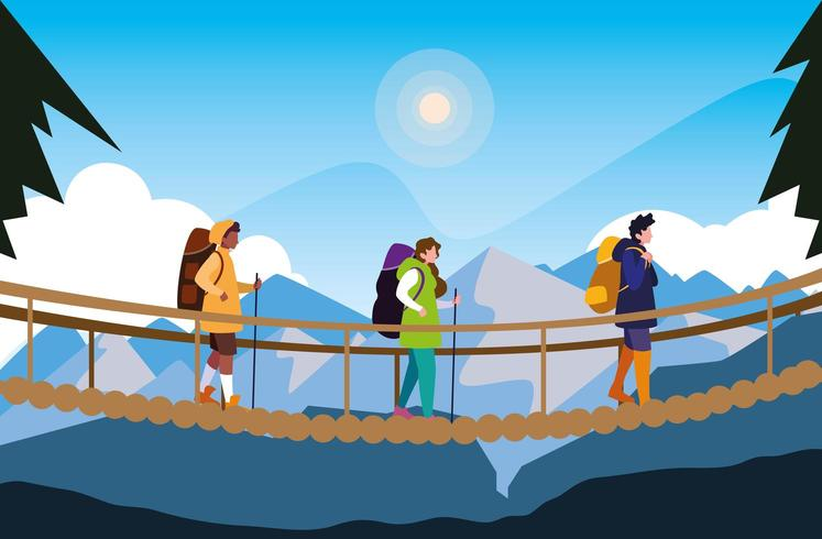 campers walking on suspension bridge vector