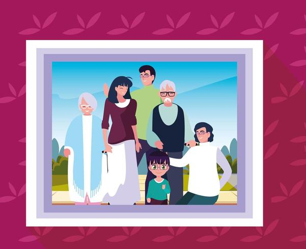 picture frame with photo of family members vector