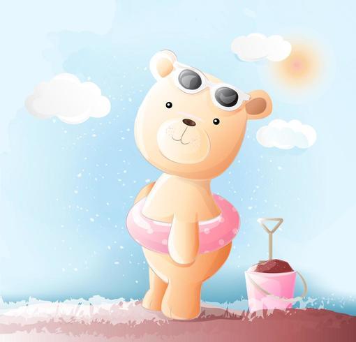 Stile sveglio dell'acquerello dell'orso del bambino Illustrazione di vettore