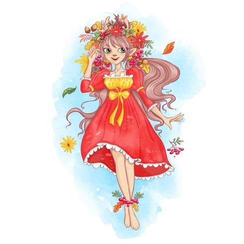 Fada em uma coroa de folhas de outono