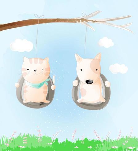 Lindo bebé gato y perro estilo acuarela ilustración vectorial. vector