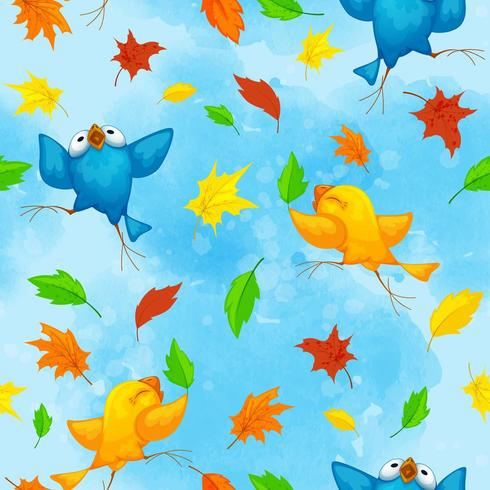 Seamless autumn pattern with funny dancing birds vector