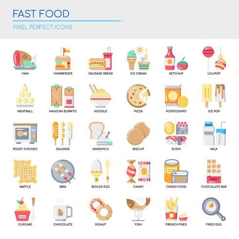 Conjunto de ícones de Fast-Food de cor lisa