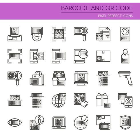 Ensemble d'icônes QR et code à barres fine ligne noir et blanc