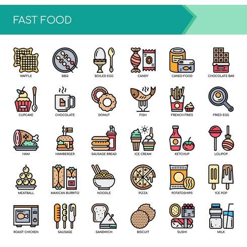 Conjunto de iconos de comida rápida de color delgada línea