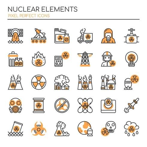 Set of Duotone Thin Line Nuclear Elements