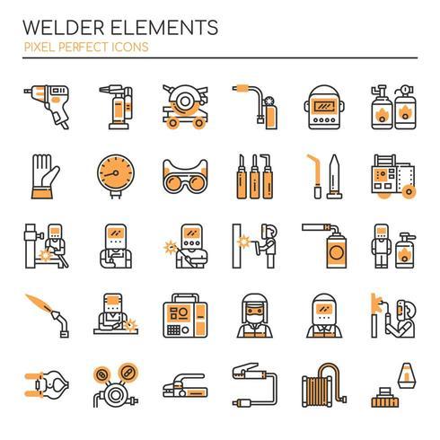 Set duotone dunne lijn Welder-elementen