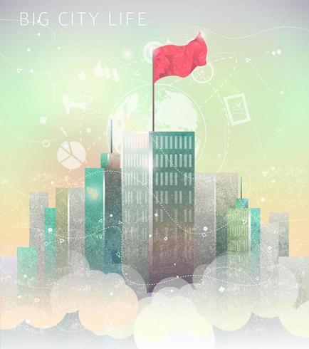 Illustration avec la grande ville parmi les nuages.