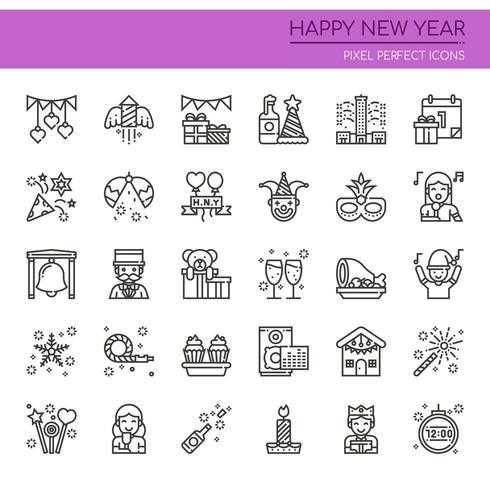 Satz der dünnen Schwarzweiss-Linie guten Rutsch ins Neue Jahr-Ikonen