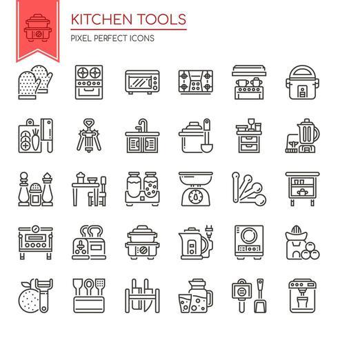 Satz dünne Schwarzweiss-Linie Küchenwerkzeuge