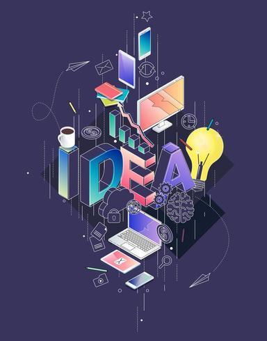Isometrisches Konzept mit dünner Linie Buchstaben und Geräten, Typografiewortidee