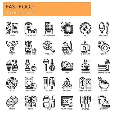 Conjunto de iconos de comida rápida de línea fina blanco y negro